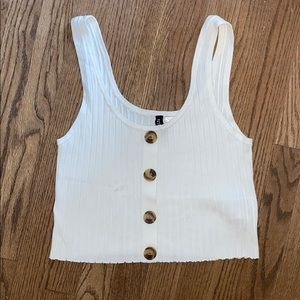 H&M Divided White Buttoned Crop Tank Top